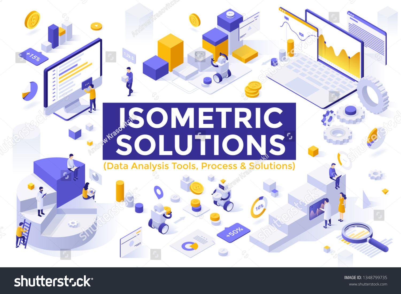 Bundle Of Isometric Design Elements Or Symbols Isolated On White