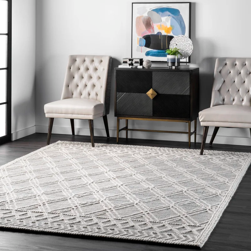 Bonifacio Geometric Handmade Tufted Black White Area Rug Area Rugs Wool Area Rugs Rugs Usa