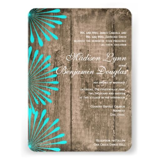 Rustic Barn Wood Teal Turquoise Flowers Wedding Invitations for a