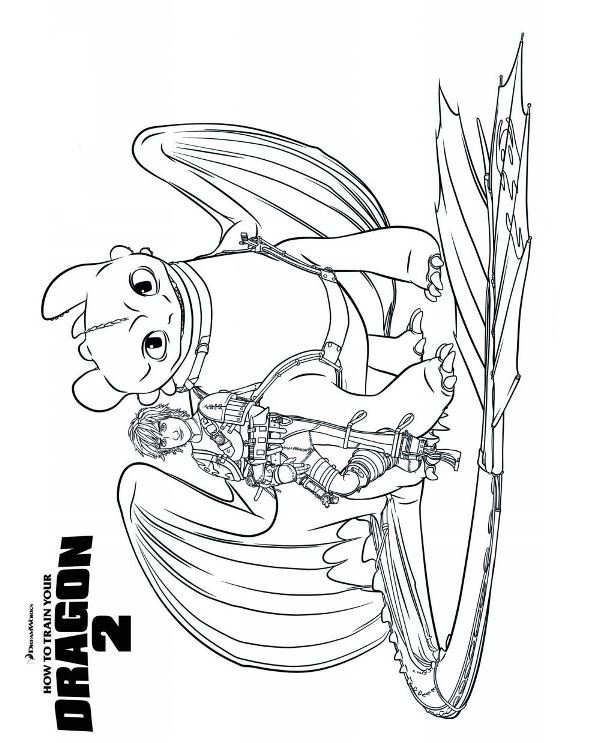 Coloring Page How To Train Your Dragon 2 Hiccup Toothless 2