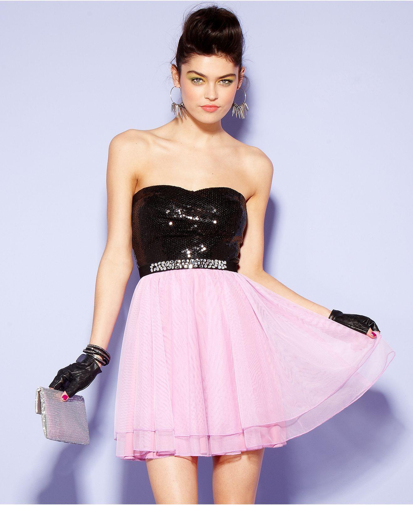 Trixxi Juniors Dress, Strapless Sequin Tulle A-Line - Juniors Prom ...