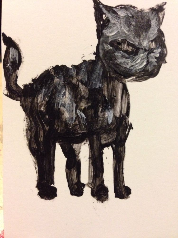 Cat, original Art Card by Jack Larson #Abstract