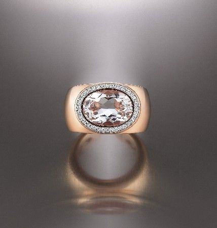 Mezzaluna Ring from Al Coro with White Diamonds and White Topaz