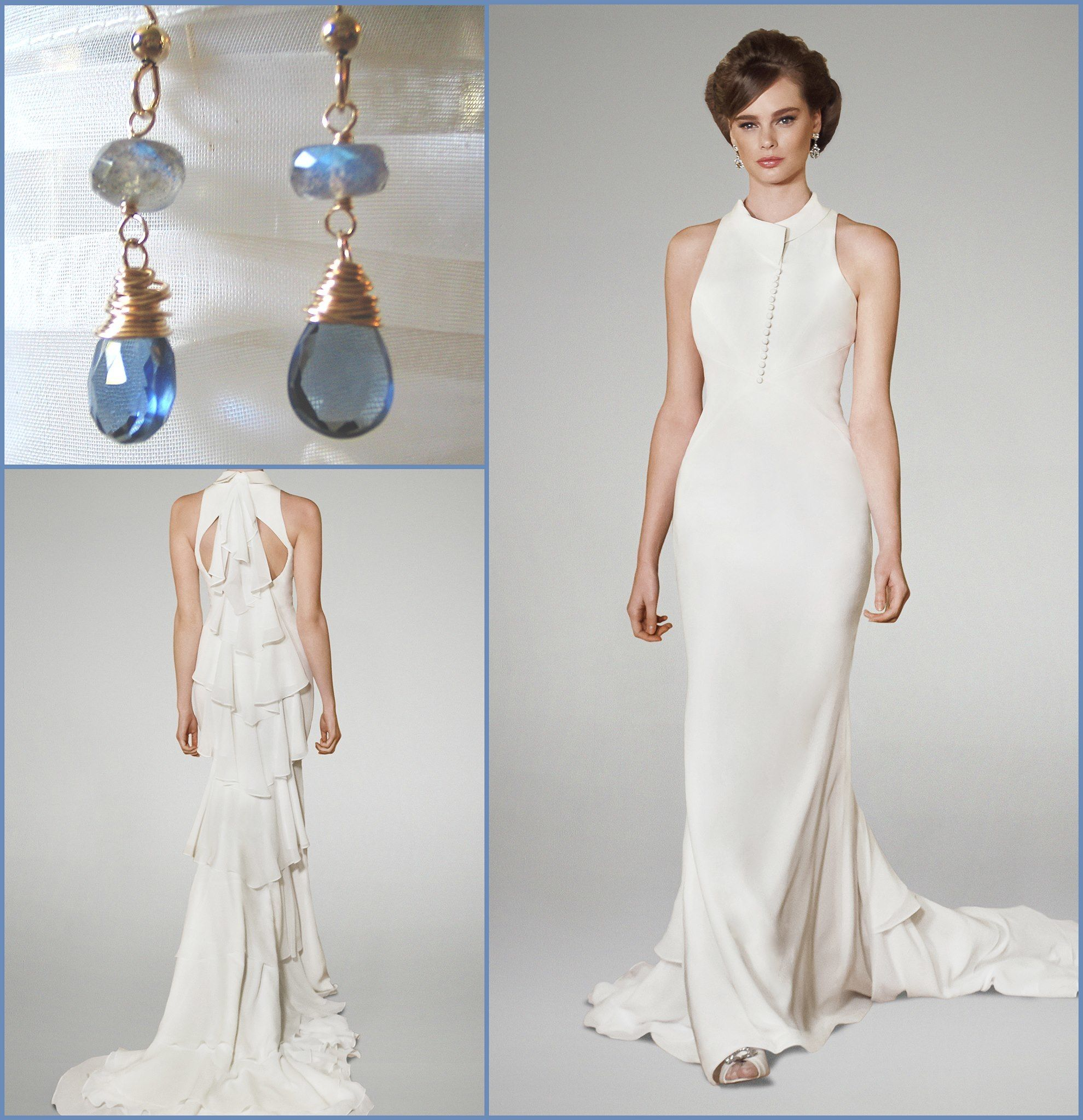 "Complement Matthew Christopher's silk ""Jolie"" wedding gown with a pair of elegant quartz drop earrings from Below Houston!  #belowhouston"