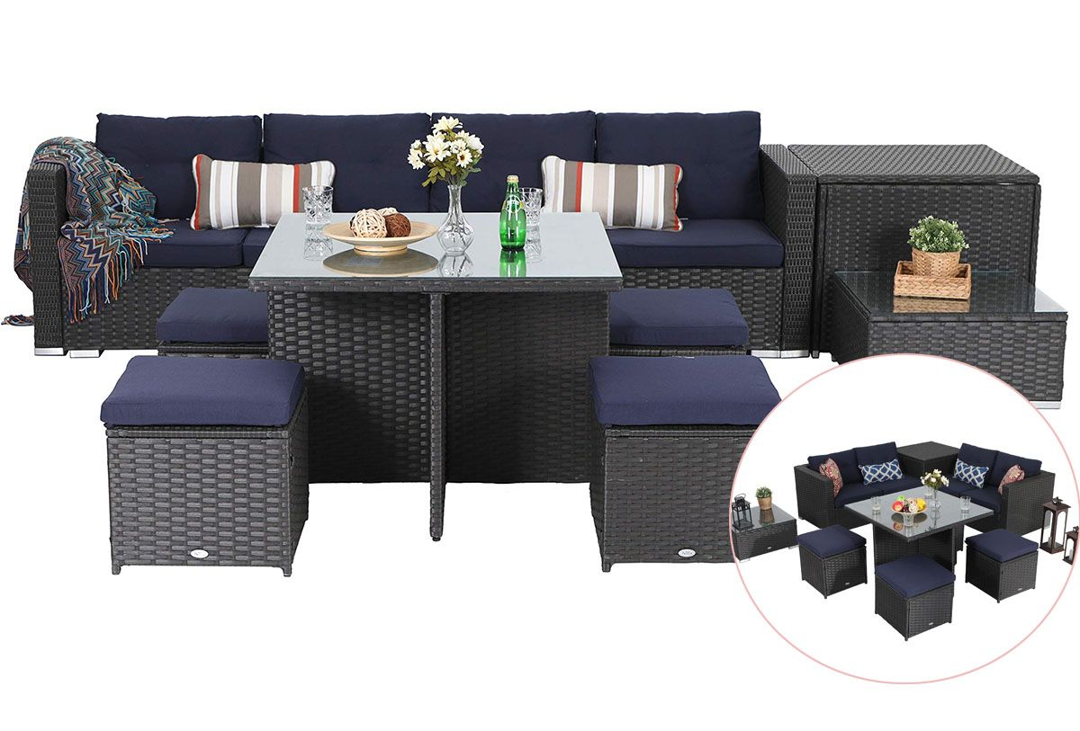 Phi Villa Outdoor Furniture Rattan Sectional Sofa Set With Cushions Outdoor Sofa Sets Patio Sofa Set Outdoor Sectional Furniture