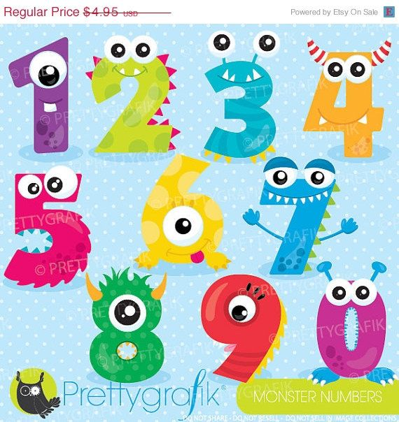 Buy 20 Get 10 Off Monster Numbers Clipart Clipart Commercial Etsy Clip Art Monster Clipart Digital Clip Art