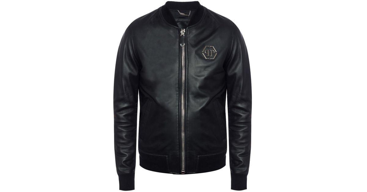 9f54c1a74c Men's Black Metal Logo Leather Jacket | Winterwear | Leather jacket ...