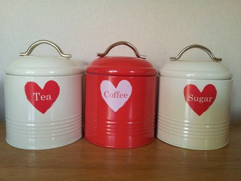 Set 3 Red Cream Love Heart Tea Sugar Coffee Canisters