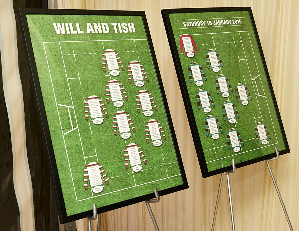 Bespoke rugby themed table plans created by us for the wedding of bespoke rugby themed table plans created by us for the wedding of will and tish junglespirit Choice Image