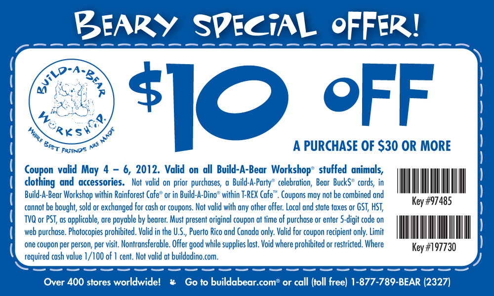 graphic regarding Build a Bear Coupons Printable named $10 off $30 at Produce-A-Undertake Workshop, or on the web by checkout