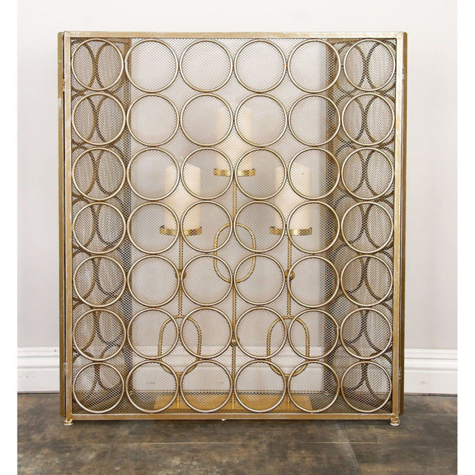 Decmode Home And Hearth Brass Tin Circle Pattern Fireplace Screen