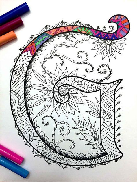 Letter G Zentangle Inspired By The Font Harrington Zentangle Patterns Coloring Pages Zentangle Art