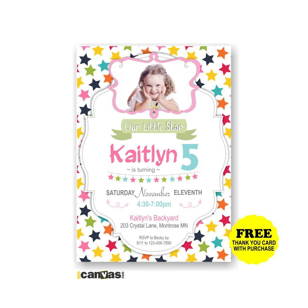 Little Star Birthday Invitation Girls Party 1st 2nd 3rd Invites Stars Any Age Printable Digital Invite 206 By 800Canvas On