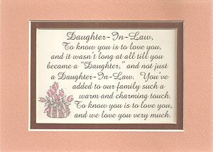 Charm Daughters In Law Family Love Verses Poems Plaques 1 Darling