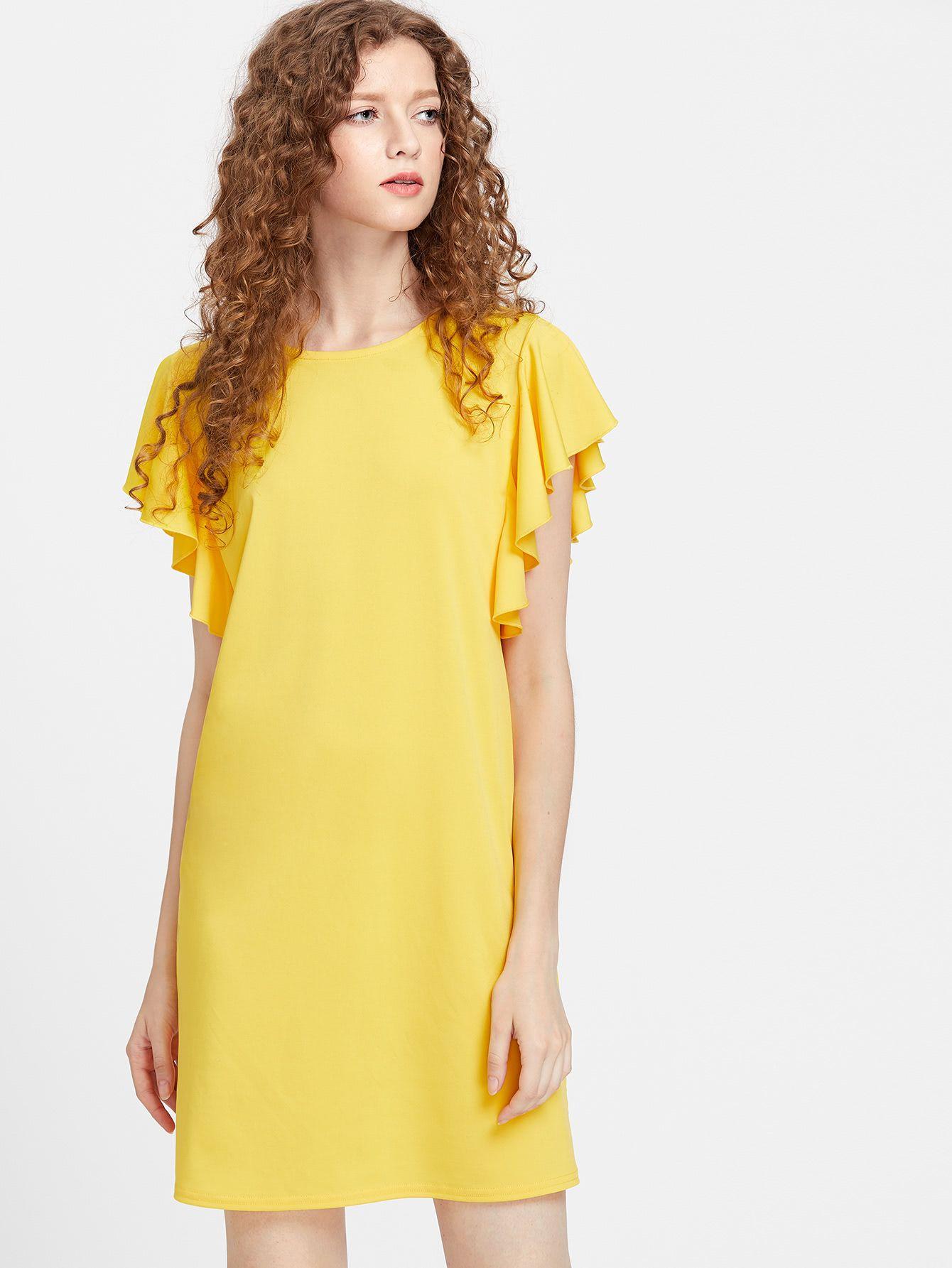 ¡Consigue este tipo de vestido informal de SheIn ahora! Haz clic para ver  los detalles. Envíos gratis a toda España. Flutter Cap Sleeve Tunic Dress… 835eeb0909a2