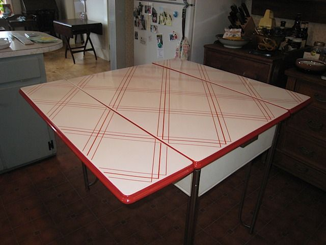 Vintage Red Strip Porcelain Kitchen Table Kingdom