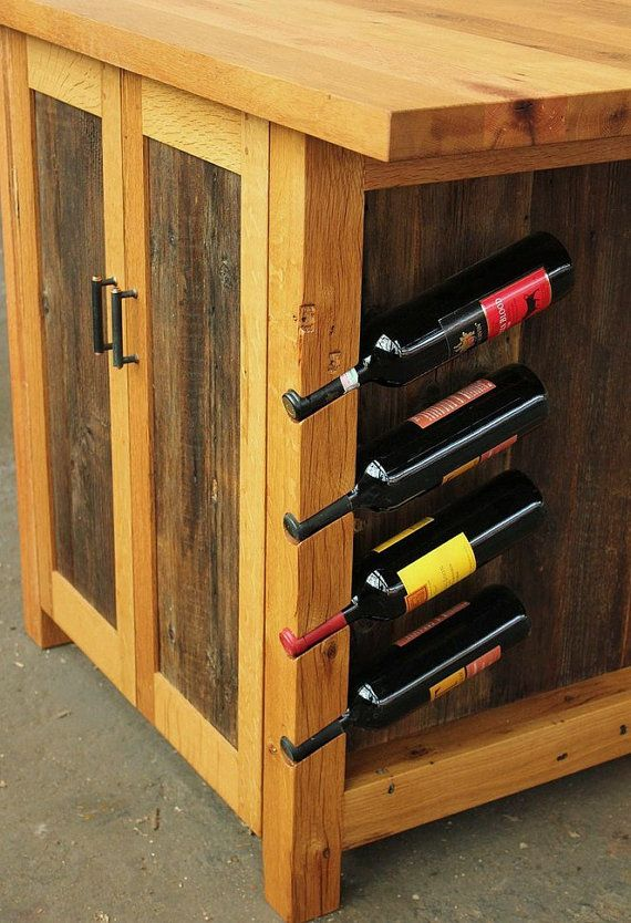 barnwood kitchen island rustic workstation wine rack cabinet
