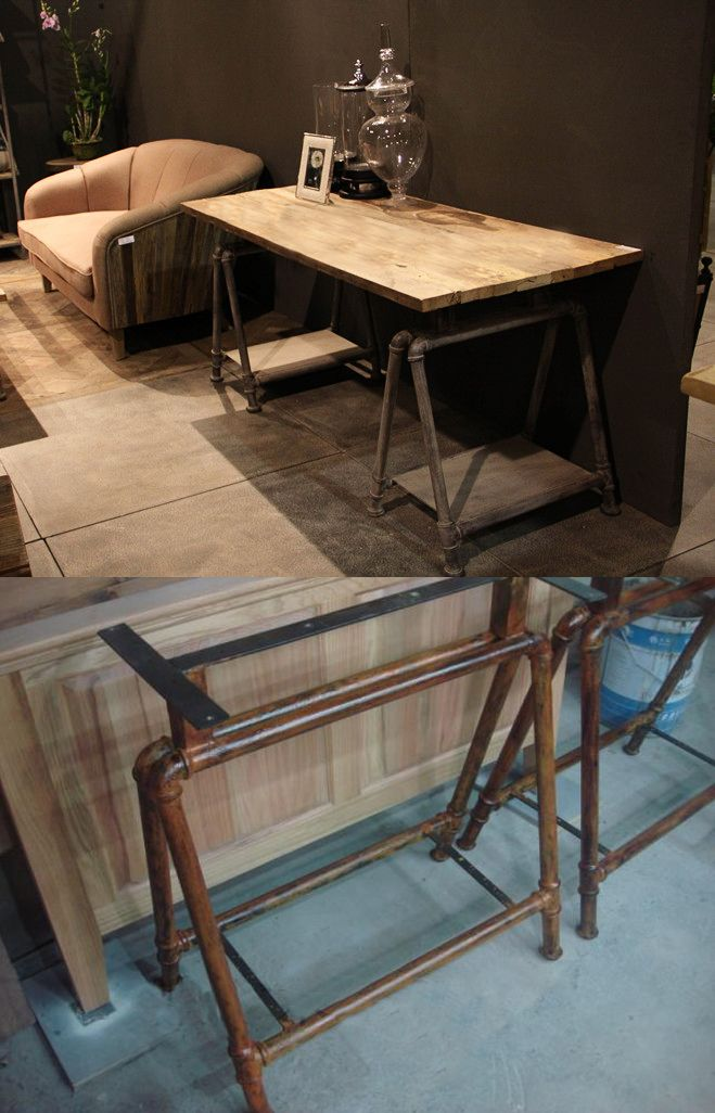 Industrial Study Room: Industrial Study Table With Pipes Legs Would Look Great In