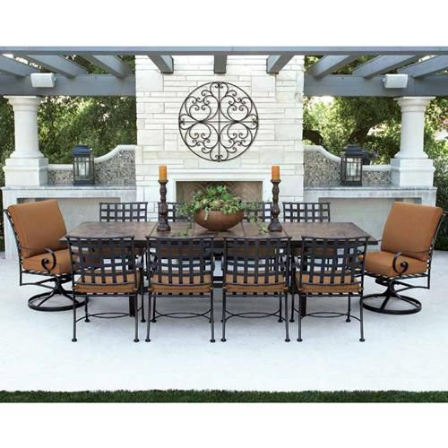 Ow Lee Classico W 10 Seat Dining Set W Expanding Tile Top Table Ow Classico Set1 Luxury Outdoor Furniture Patio Furniture Collection Patio Furniture