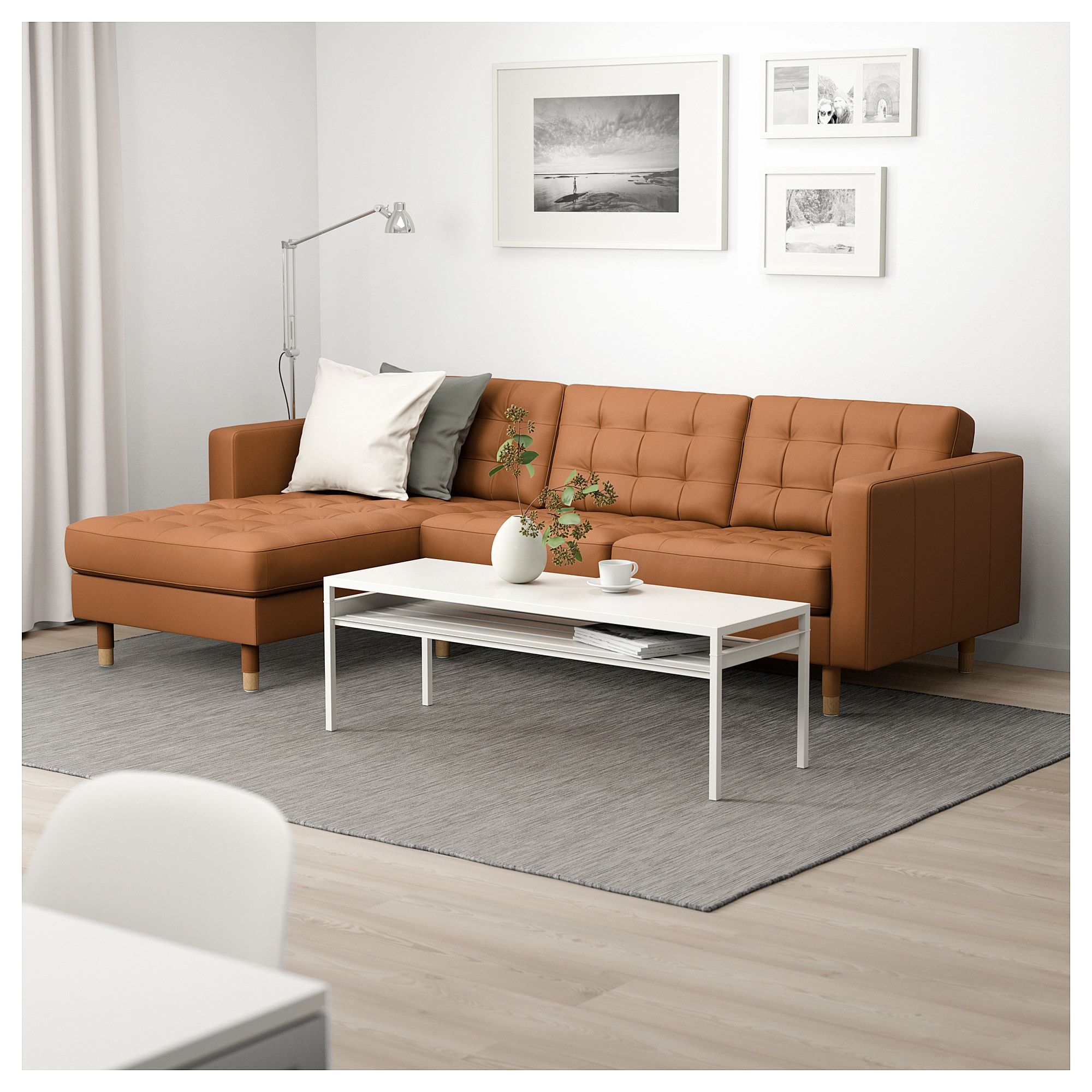 Ikea Ledersofa Test Landskrona Sofa With Chaise Grann Bomstad Golden Brown Metal