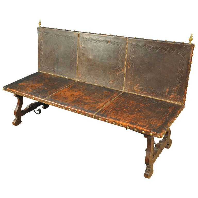 19th Century Spanish Leather Sofa or Bench | From a unique collection of antique and modern settees at http://www.1stdibs.com/furniture/seating/settees/