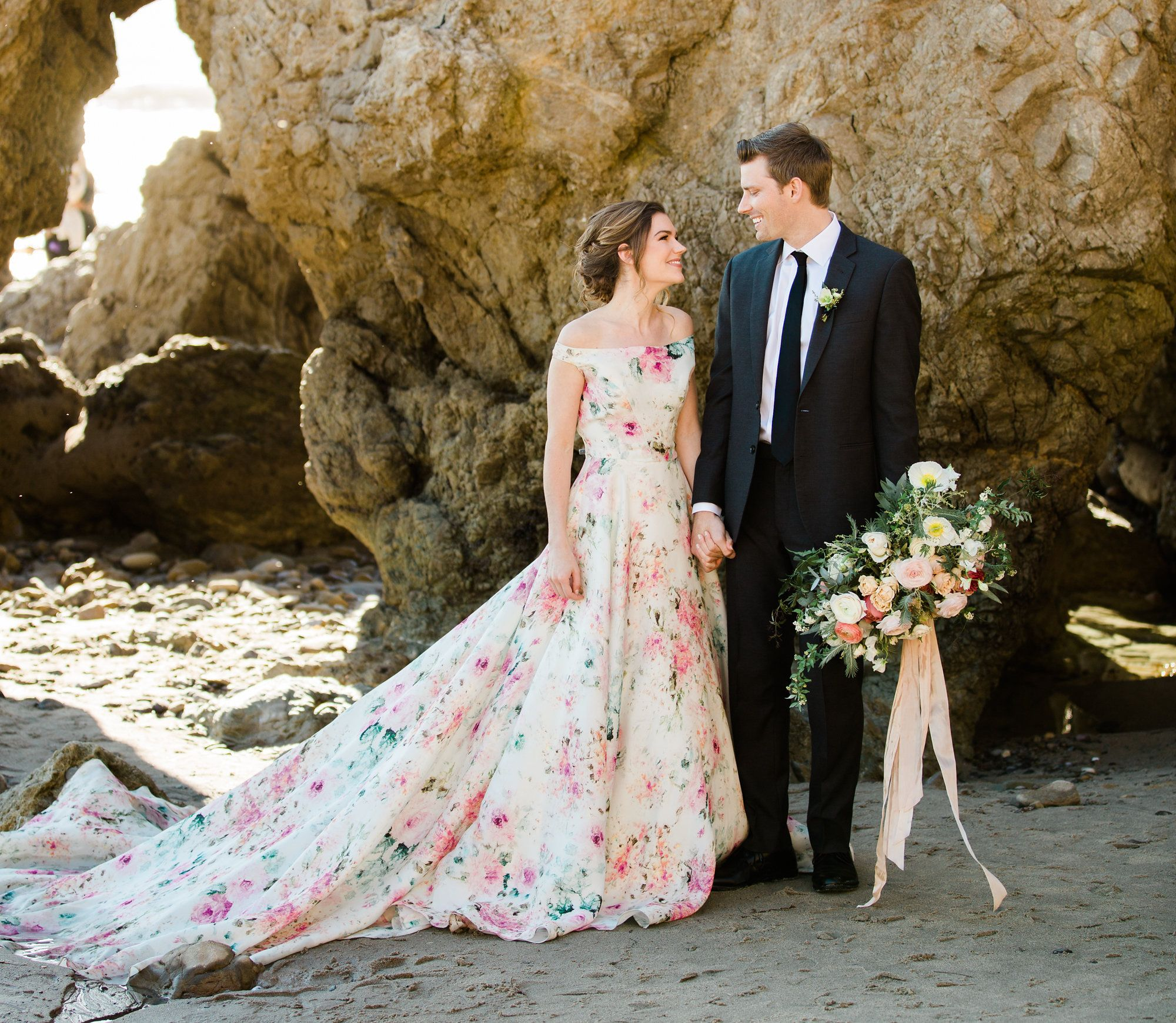 Floral print wedding dresses  Itus All About Love and Support At This Beach Wedding Shoot