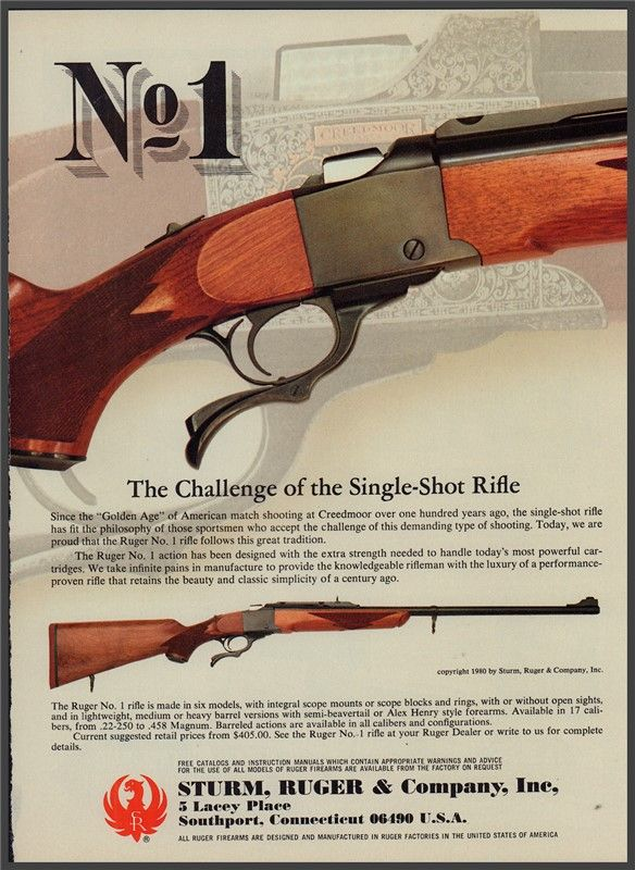 1981 RUGER No, 1Single-Shot Rifle PRINT AD : Other Collectibles at GunBroker.com