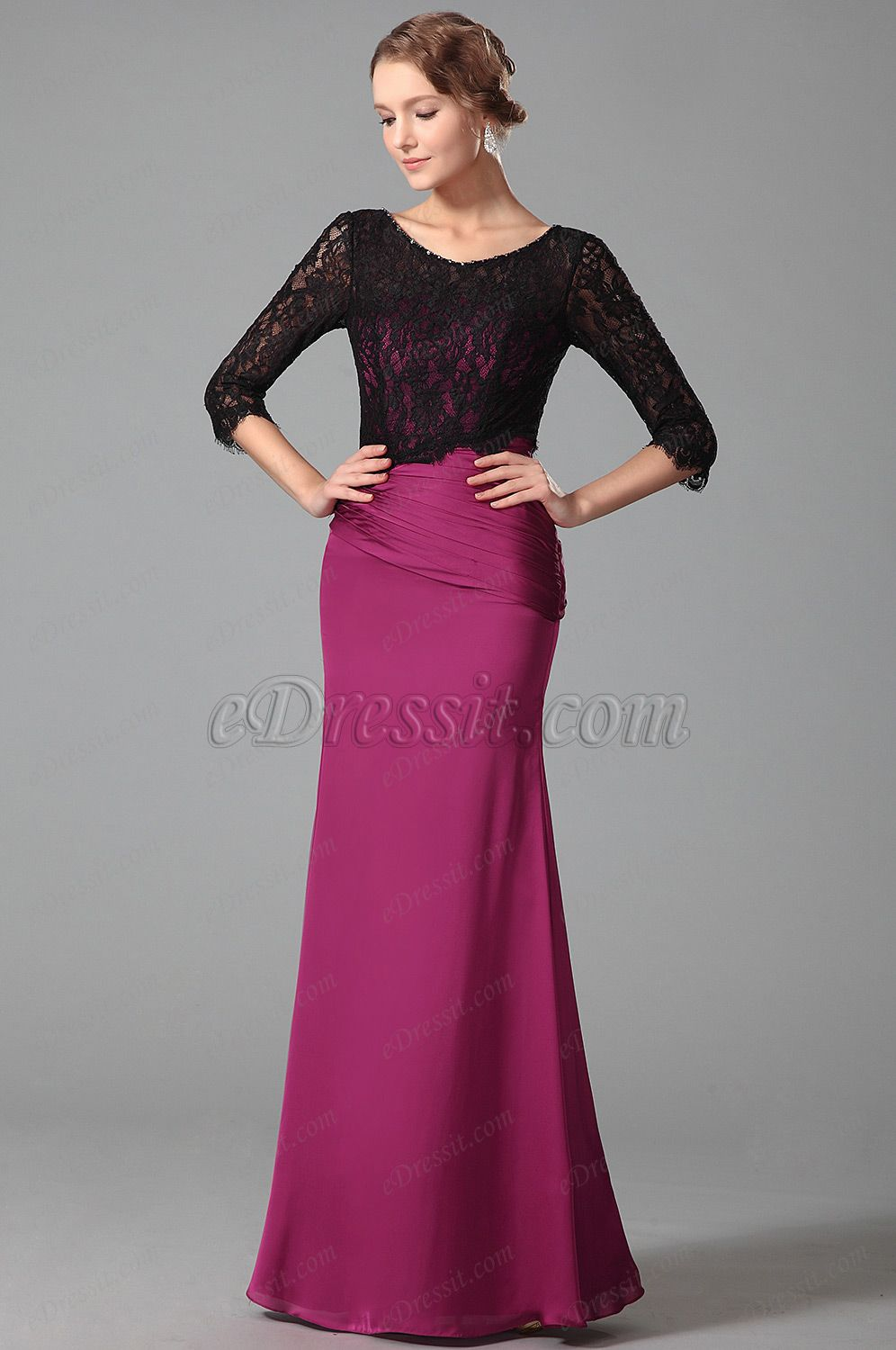 Stunning Floor Length Evening Dress With Long Lace Sleeves (26152812 ...