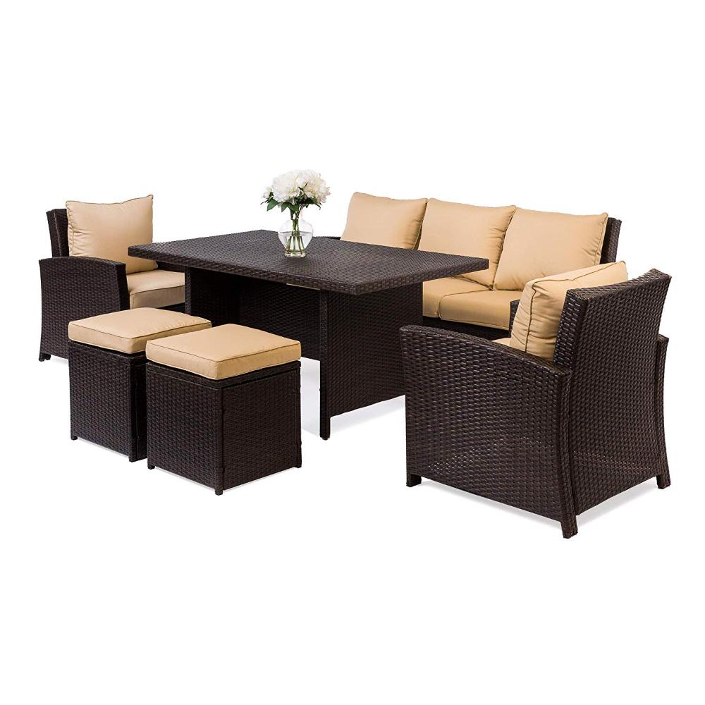 Best Amazon Com Best Choice Products 6 Piece Modular Patio Wicker Dining Sofa Set Weather 400 x 300