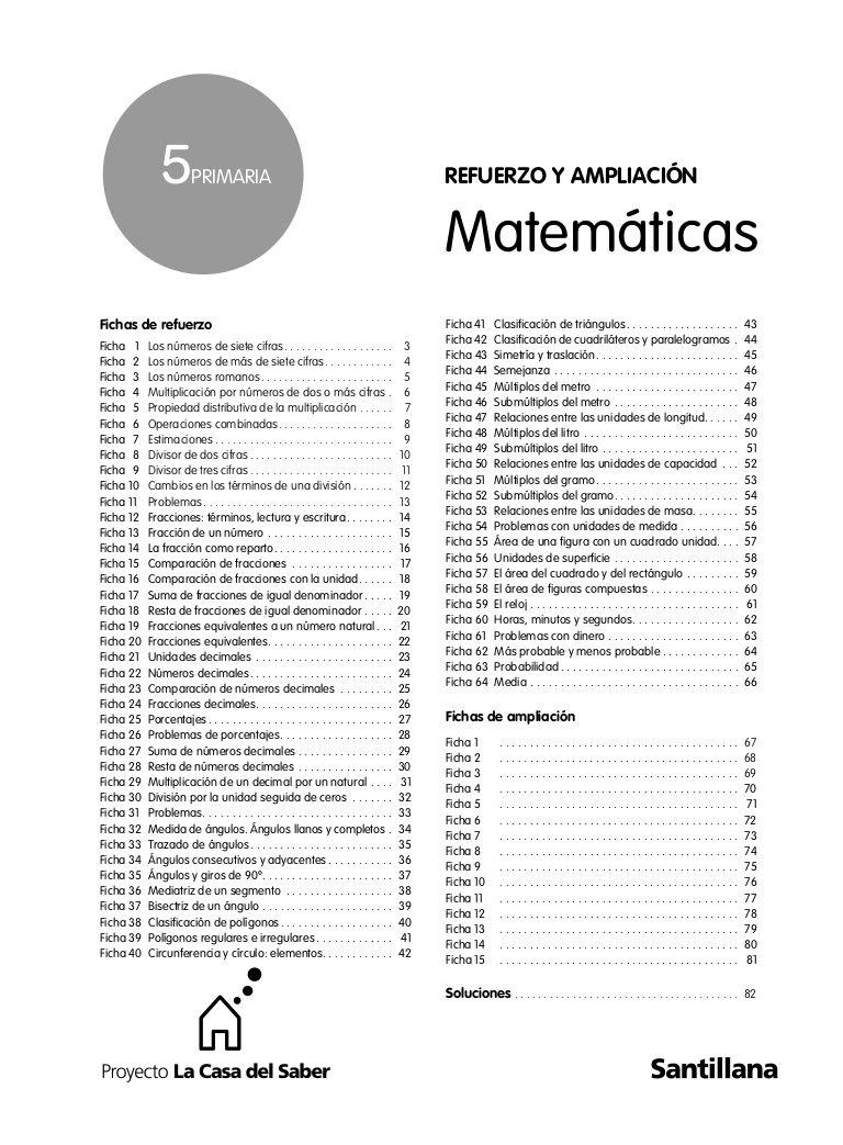 REFUERZO Y AMPLIACION MATES 5º   Matematicas, Matematicas