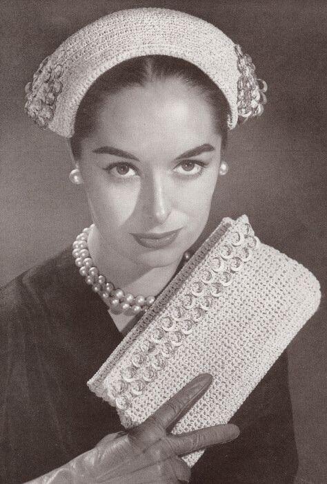 Vintage Crochet PATTERN Sailor Hat Drawstring Bag 40 50