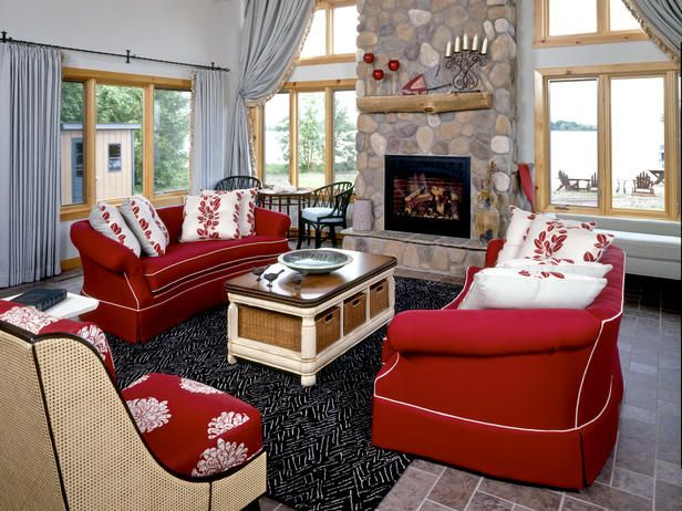 Playful Red   Vibrant Red Sofas On HGTV