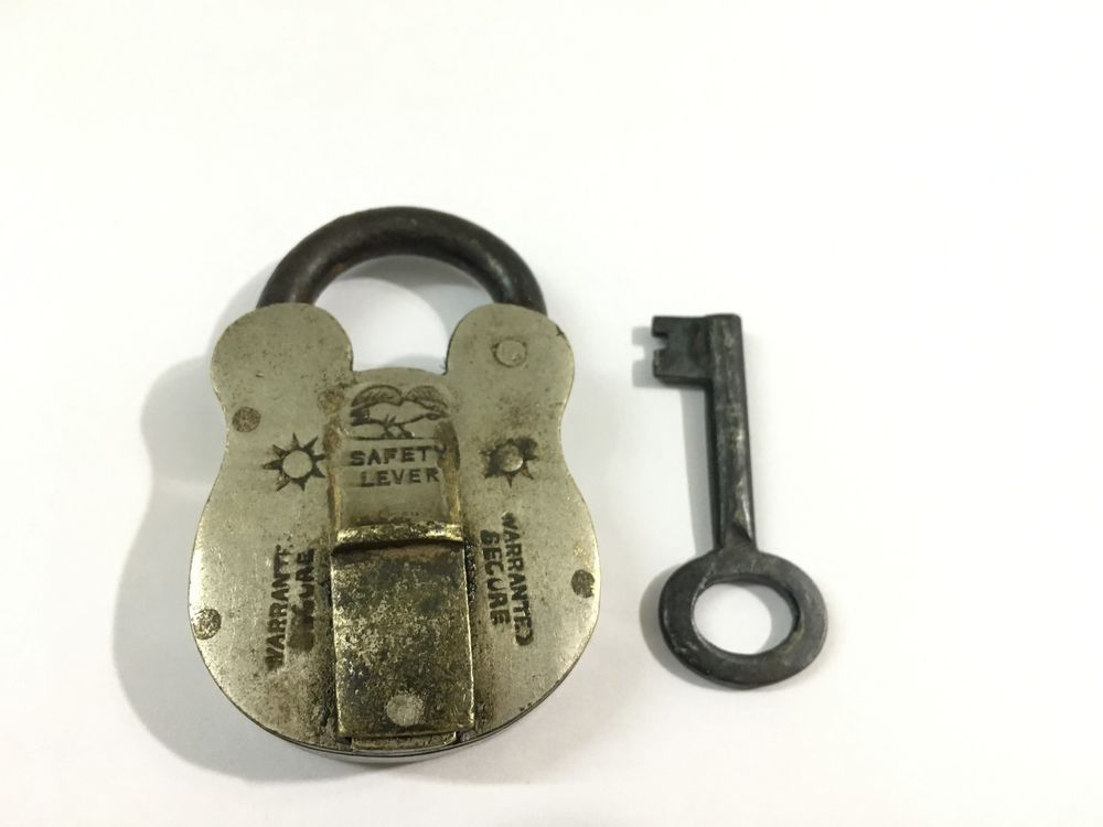 An Antique Old Brass Unique Padlock Safety Lever Rich Patina Swan Engraved Antiques Brass Padlock