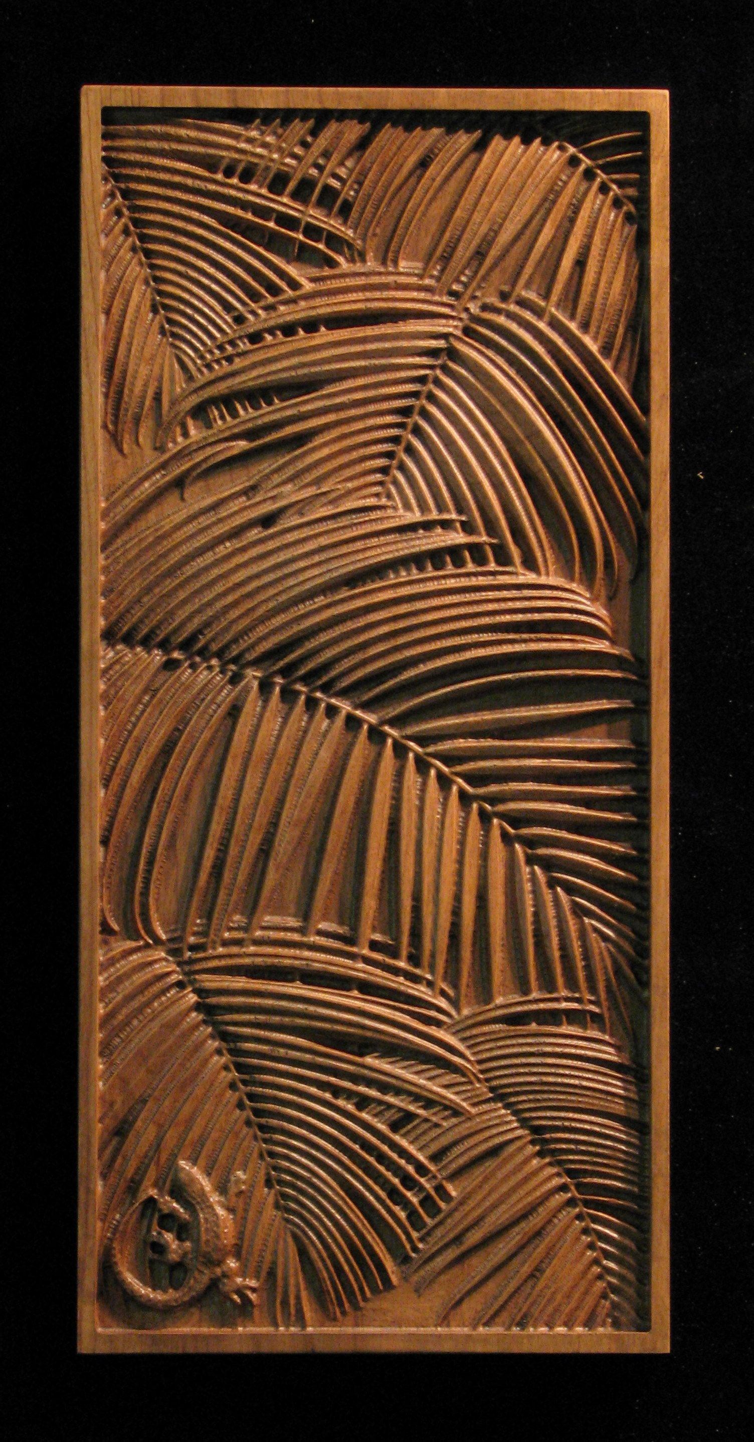 Wood carved cabinet door tropical and