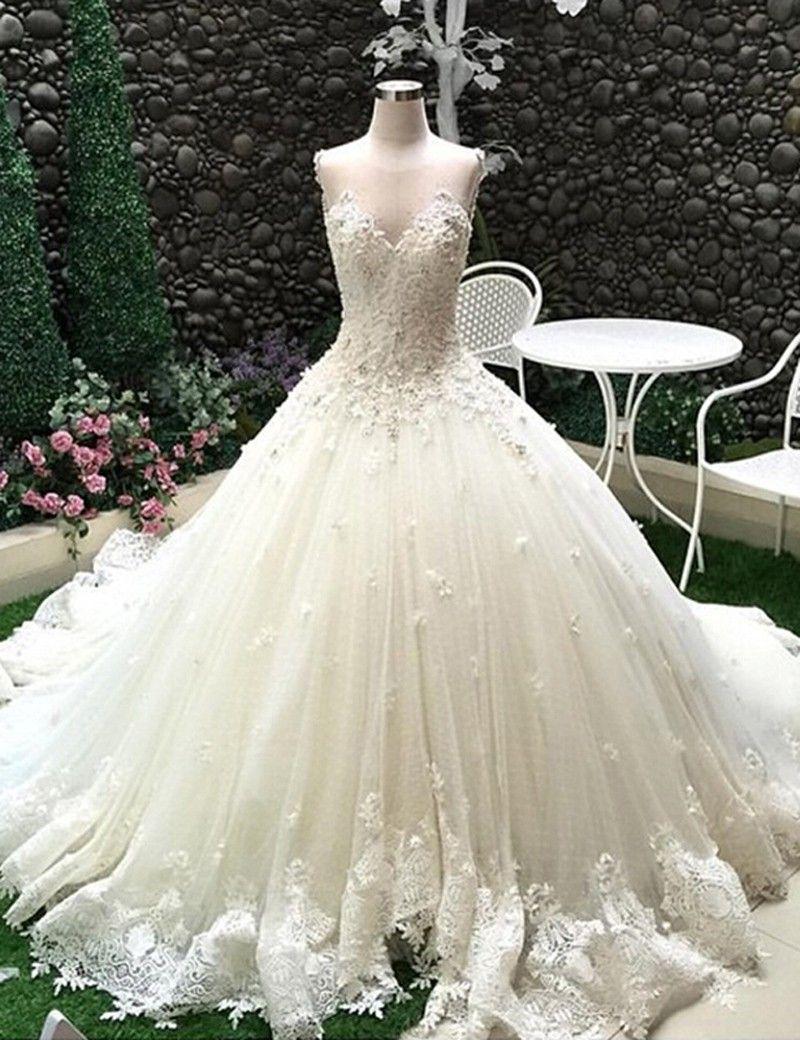 Ballkleid Kathedrale Schleppe Tüll Brautkleid Hochzeitskleid mit