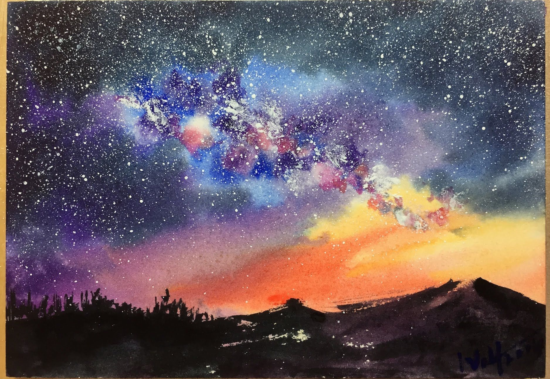 A Step By Step Demonstration Tutorial Of Starry Night Watercolor Sky Painting On Postcard For