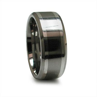 Edward Mirell Mens 90mm Titanium Wedding Band with Sterling Silver