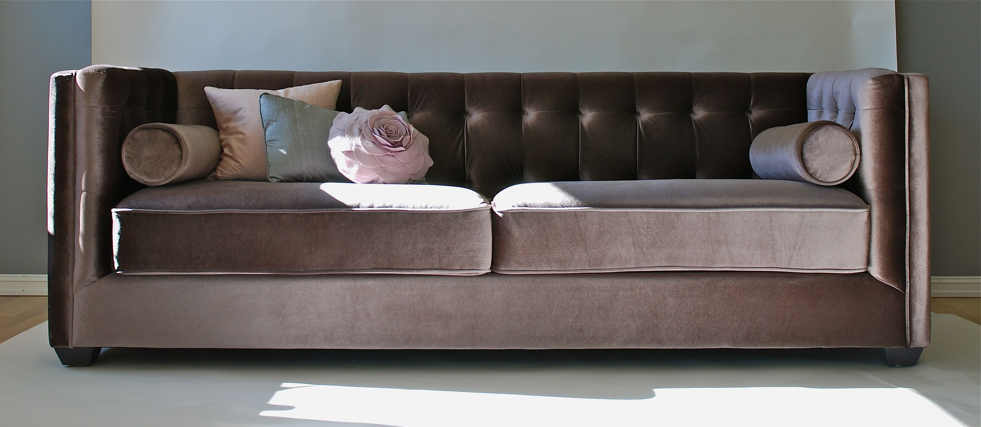 Velour Couch Lekker Sofa I Grå Brun Velour Varer Furniture