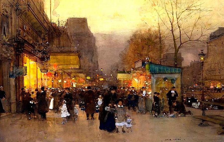 Porte St. Martin at Christmas Time in Paris, Luigi Loir 1890