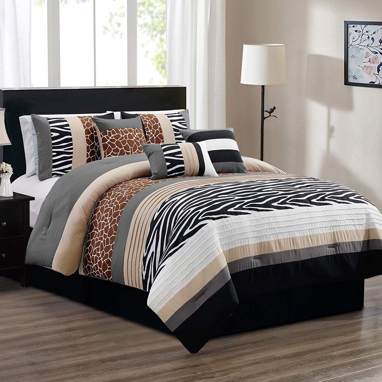 7 Piece Queen Size Safari Bed In A Bag Animal Print Zebra Giraffe