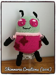 """Amigurumi """"Invader Zim"""" Inspired Skoodge PDF Pattern by Shimmeree Creations on Ravelry"""