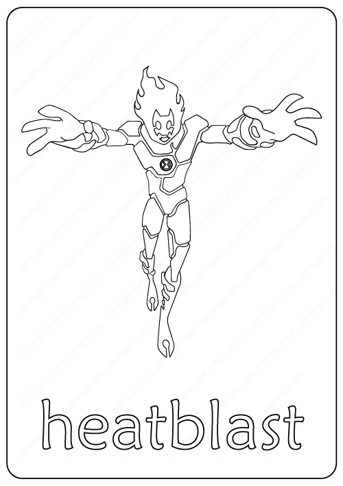 Ben Ten 10 Heatblast Coloring Page Book Pdf