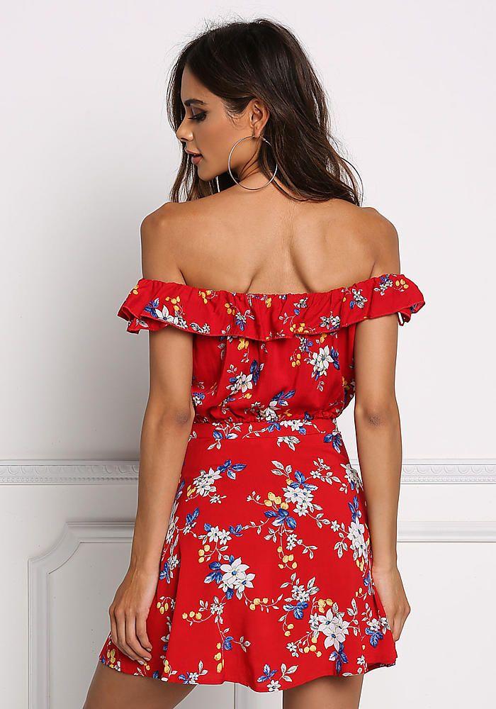16ac31600e0 Red Floral Off Shoulder Crop Top - Boutique Culture