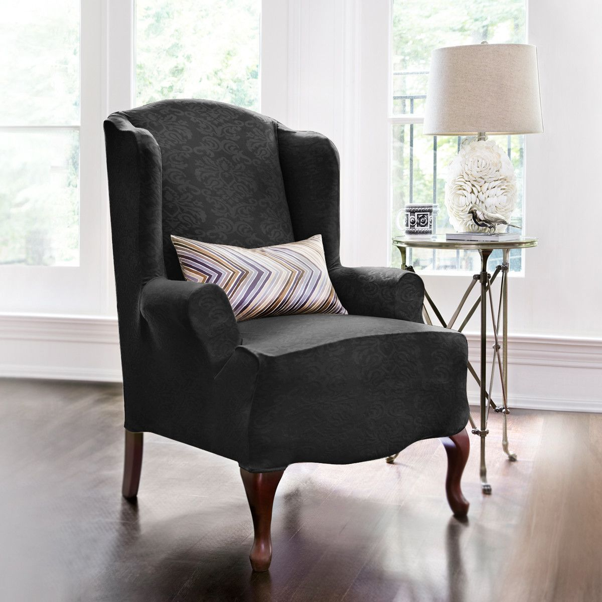 Lovely Astonishing Wing Chair Recliner Slipcover For Elegant Home Interior Decor:  Cool Black Dahlia Damask Wing Chair Recliner Slipcovers By Wayfair In Brown  Wood ...