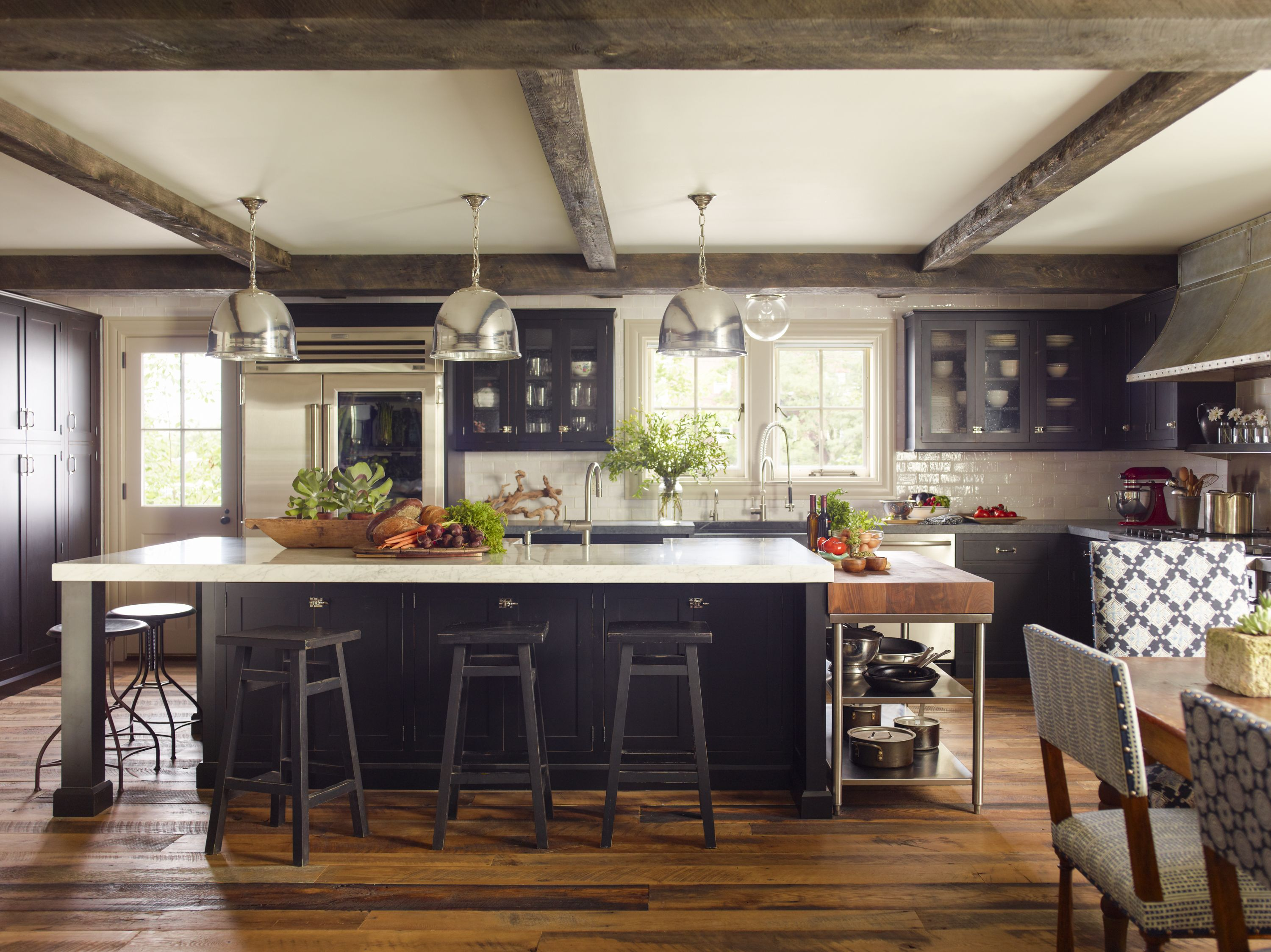 Rustic Kitchen With Oskar 15 Pendants Designed By Dunn And Tighe