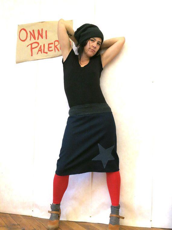 Midi denim skirt dark blue with  star in retro style , flaired skirt, blue Skirt, knees length skirt