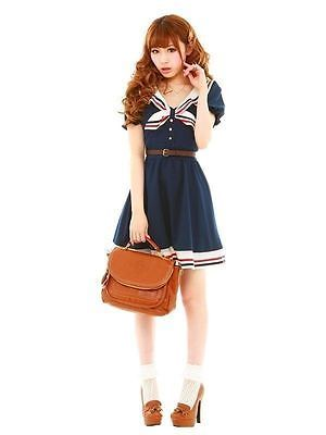 Kawaii Japanese School Girl Sailor Short Sleeve Dress Pleated Bow Skirt