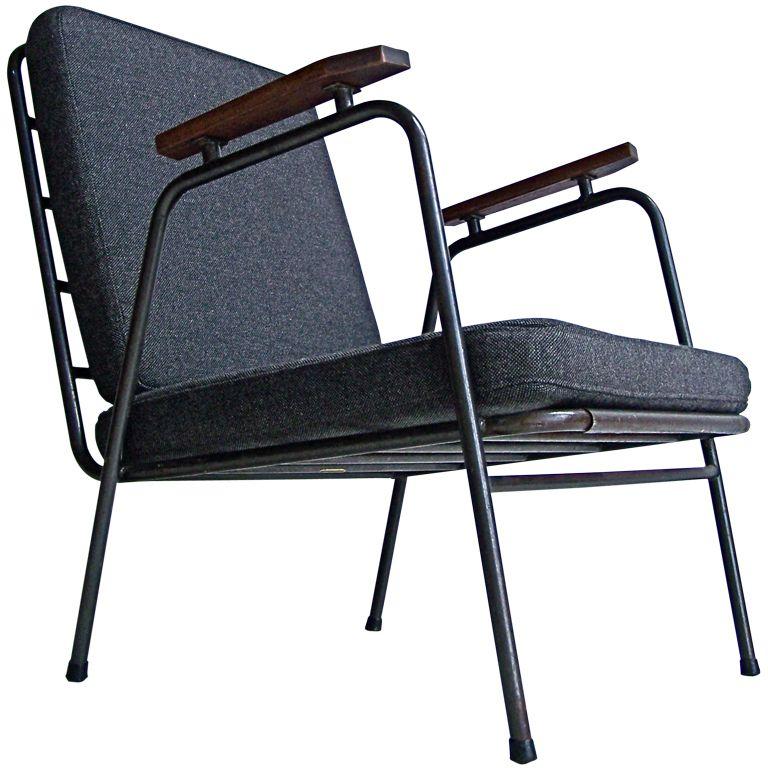 Captivating Industrial Metal Armchair, France 1950u0027s