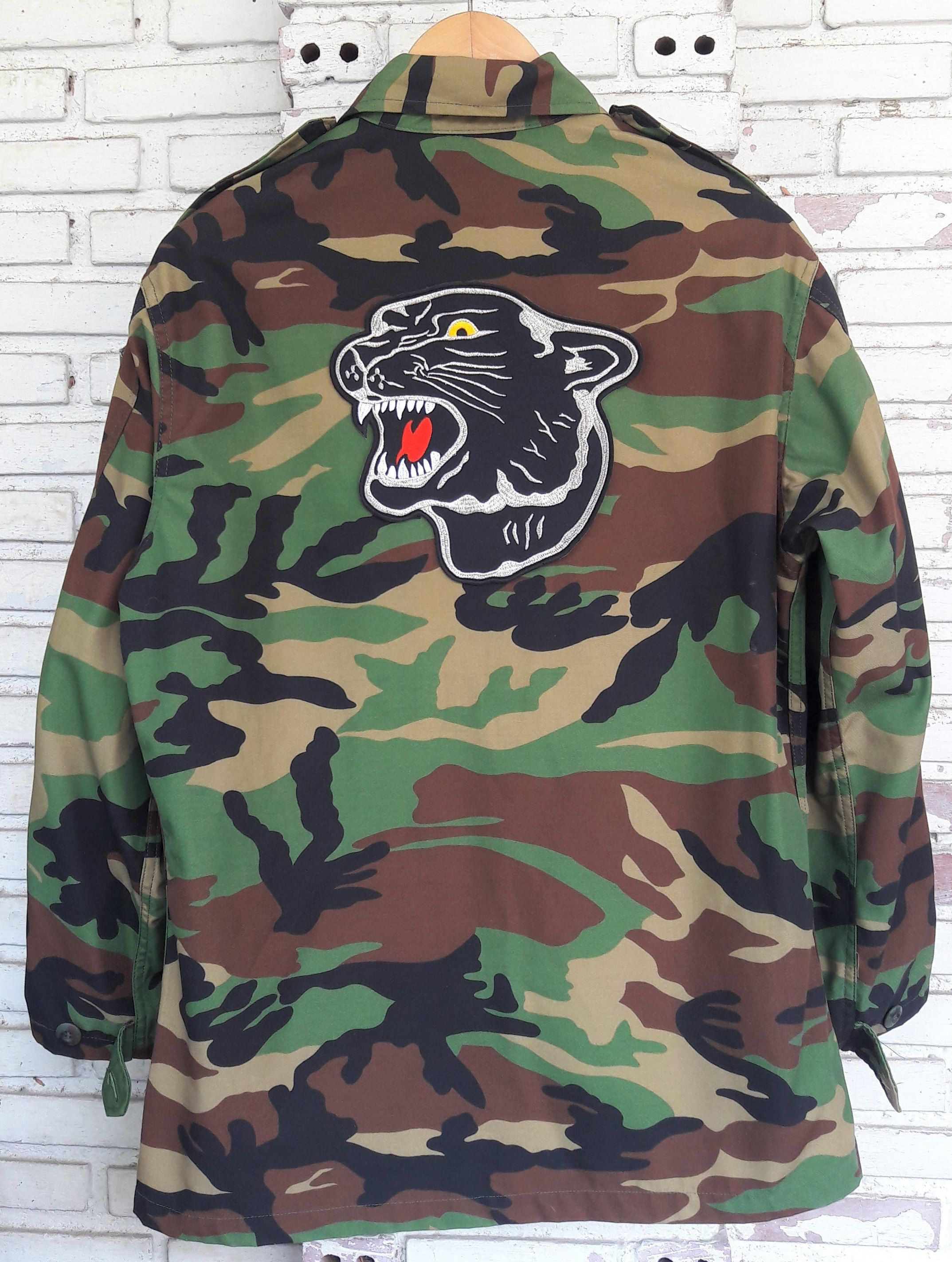 Black Panther Camo Jacket   Hand Reworked Vintage Military Camo Jacket with  Patches   Patched Military Camouflage Jacket Size  L by  KodChaPhornJacket465 on ... ca201383e