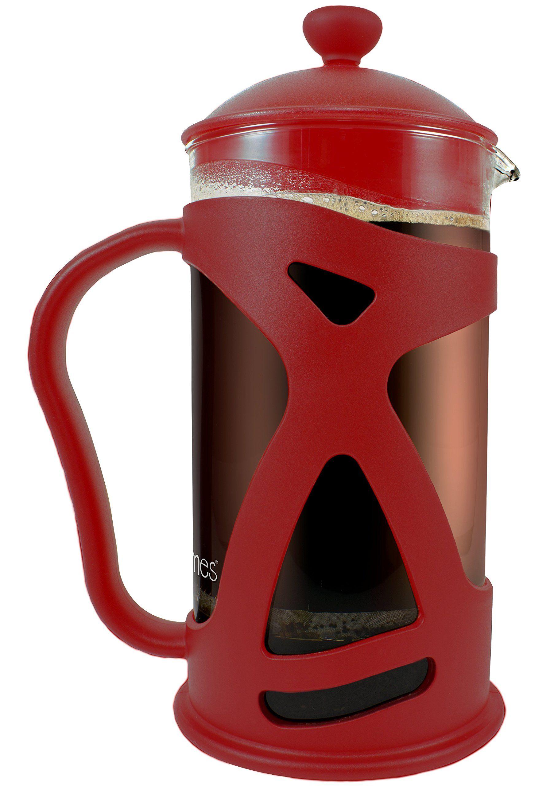 KONA French Press Tea & Espresso Coffee Maker, 34oz Red